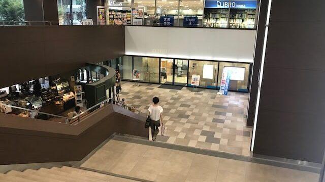 ビル内の階段を下りる